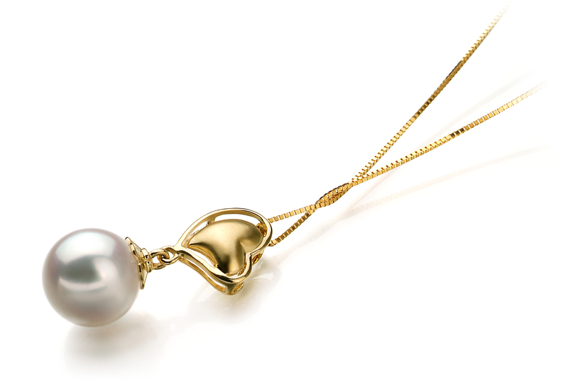 Anhänger mit weißen, 8-9mm großen Janischen Akoya Perlen in AA-Qualität , Cora