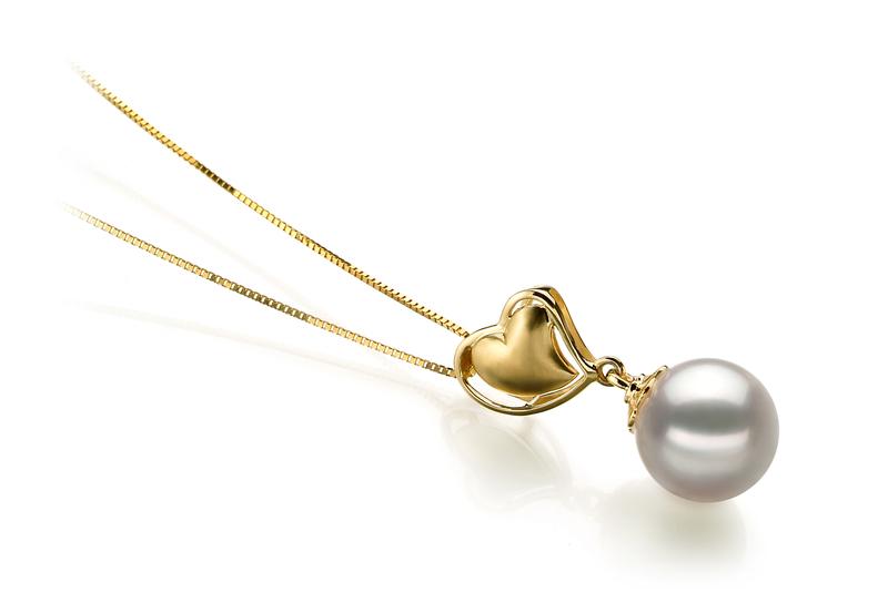 PearlsOnly - Anhänger mit weißen, 8-9mm großen Janischen Akoya Perlen in AA-Qualität , Cora