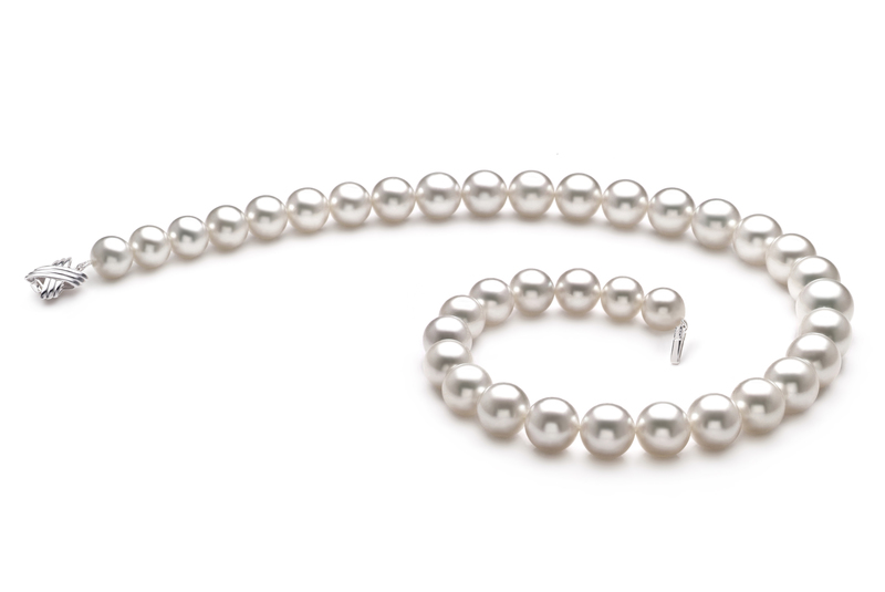 Halskette mit weißen, 10-14mm großen Südseeperlen in AAA+-Qualität , Coralie