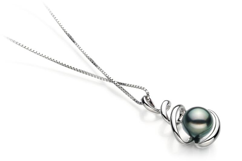 PearlsOnly - Anhänger mit schwarzen, 8-9mm großen Tihitianischen Perlen in AAA-Qualität , Corinna