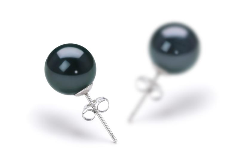 Paar Ohrringe mit schwarzen, 8.5-9mm großen Janischen Akoya Perlen in AAA-Qualität , Dajana