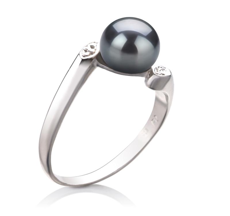 Ring mit schwarzen, 6-7mm großen Süßwasserperlen in AAA-Qualität , Dana
