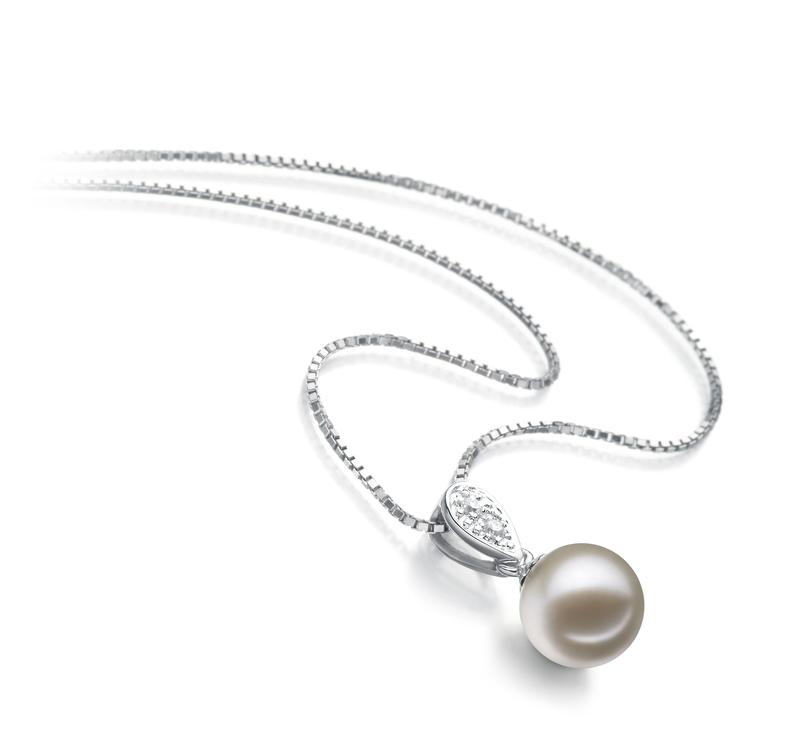 7-8mm AAAA-Qualität Süßwasser Perlenanhänger in Daria Weiß