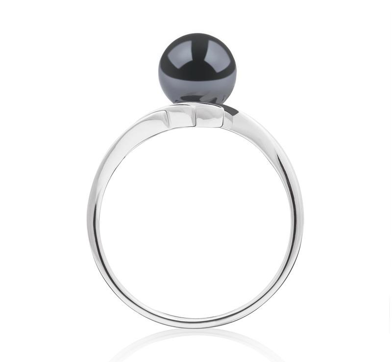Ring mit schwarzen, 6-7mm großen Janischen Akoya Perlen in AAA-Qualität , Daron