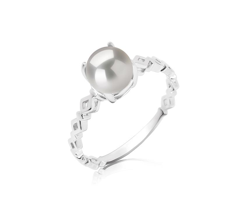 7.5-8mm AAAA-Qualität Süßwasser Perlenringe in Dawn Weiß