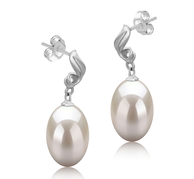9-10mm AAA-Qualität Süßwasser Paar Ohrringe in Deborah Weiß