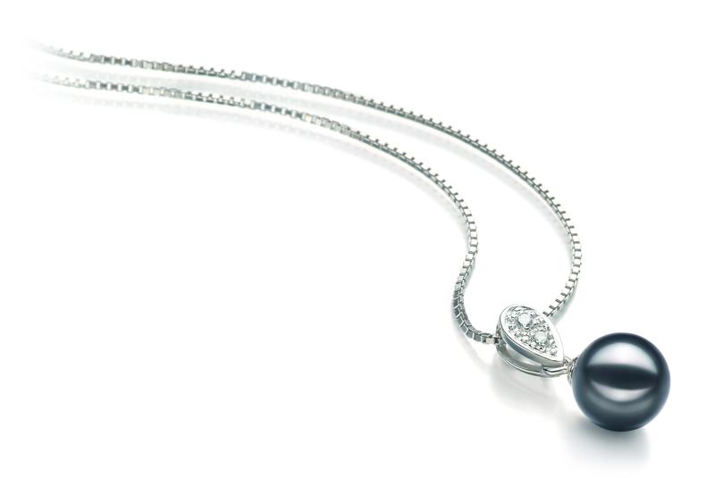 Anhänger mit schwarzen, 7-8mm großen Janischen Akoya Perlen in AA-Qualität , Denise