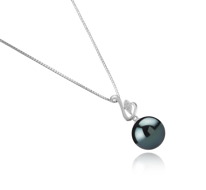 Anhänger mit schwarzen, 12-13mm großen Tihitianischen Perlen in AAA-Qualität , Dixie