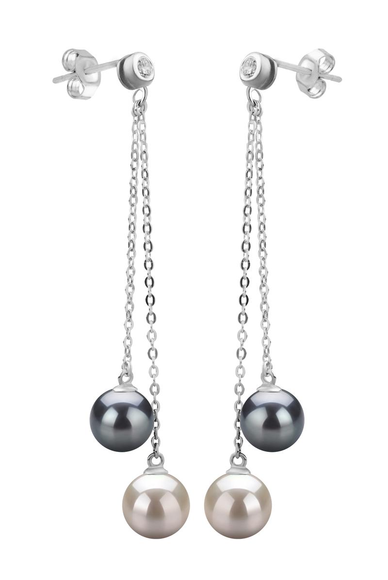 Paar Ohrringe mit schwarzen and weißen, 7-8mm großen Süßwasserperlen in AAAA-Qualität , Dolly