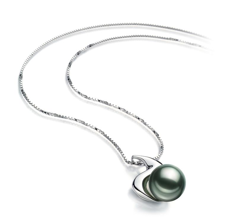 Anhänger mit schwarzen, 10-10.5mm großen Tihitianischen Perlen in AAA-Qualität , Dominique