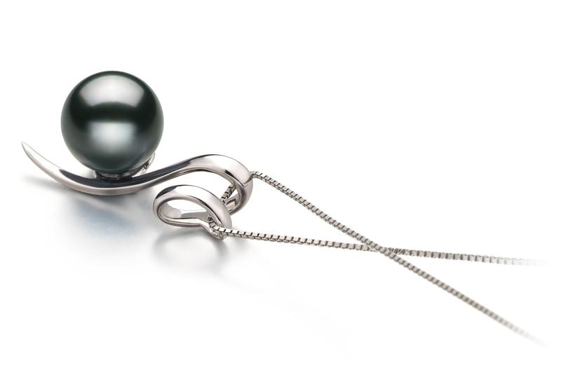PearlsOnly - Anhänger mit schwarzen, 8-9mm großen Tihitianischen Perlen in AAA-Qualität , Doreen