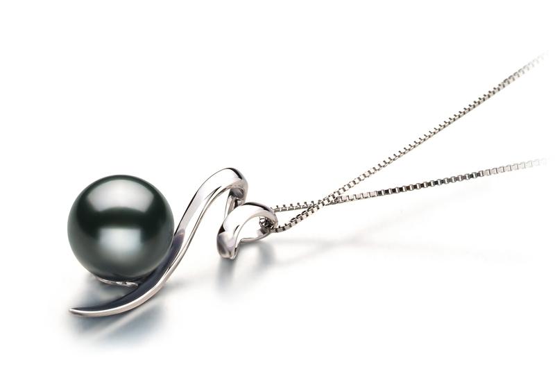 Anhänger mit schwarzen, 8-9mm großen Tihitianischen Perlen in AAA-Qualität , Doreen