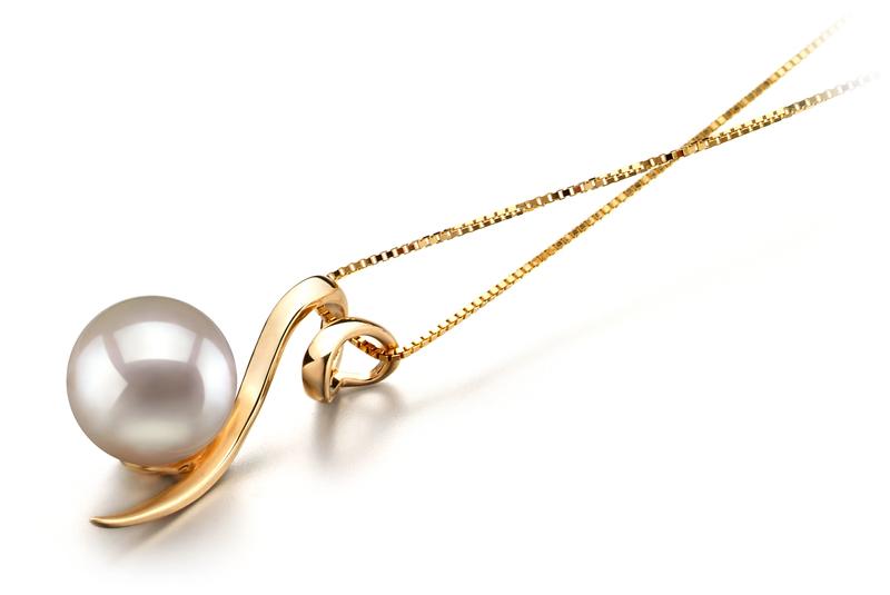 Anhänger mit weißen, 8-9mm großen Janischen Akoya Perlen in AA-Qualität , Doreen