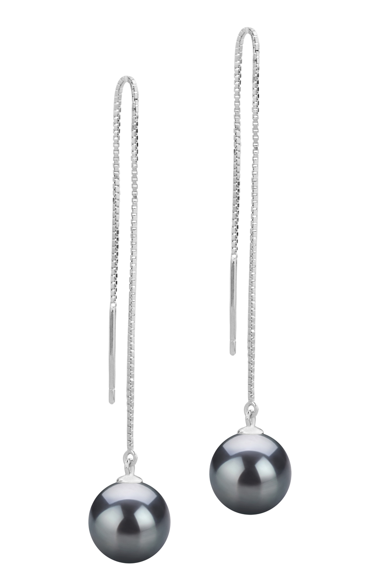 Paar Ohrringe mit schwarzen, 8-9mm großen Süßwasserperlen in AAAA-Qualität , Dottie