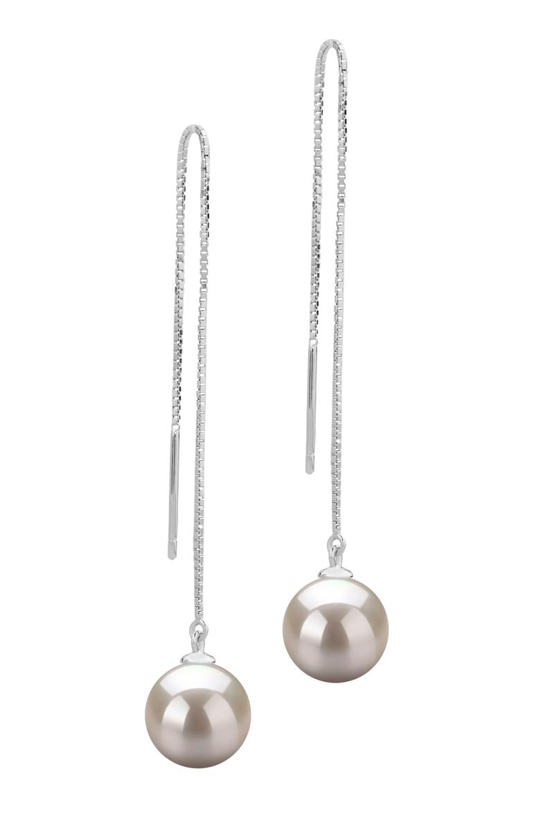 8-9mm AAAA-Qualität Süßwasser Paar Ohrringe in Dottie Weiß