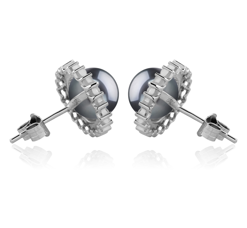 Paar Ohrringe mit schwarzen, 7-8mm großen Süßwasserperlen in AAAA-Qualität , Dreama