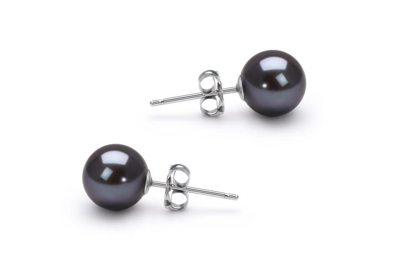 Paar Ohrringe mit schwarzen, 6-7mm großen Süßwasserperlen in AAAA-Qualität , Dunja