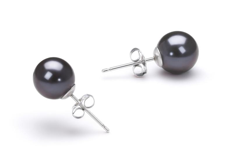 Paar Ohrringe mit schwarzen, 7-8mm großen Süßwasserperlen in AAAA-Qualität , Eileen