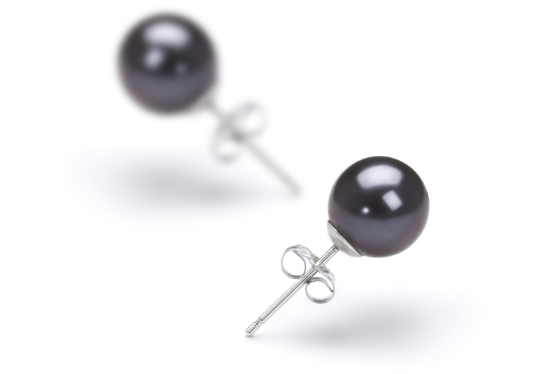 PearlsOnly - Paar Ohrringe mit schwarzen, 7-8mm großen Süßwasserperlen in AAAA-Qualität , Eileen