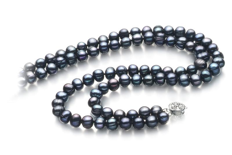 PearlsOnly - Halskette mit schwarzen, 6-7mm großen Süßwasserperlen in A-Qualität , Eliana