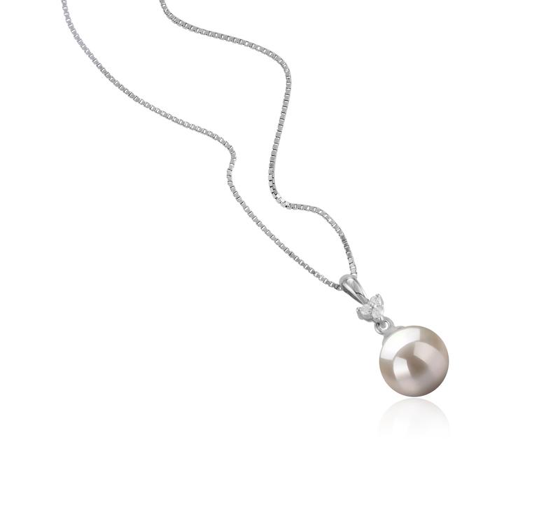 Anhänger mit weißen, 8-9mm großen Janischen Akoya Perlen in AA-Qualität , Ellice