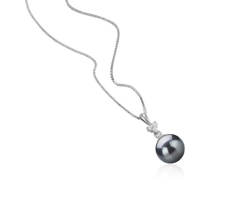 Anhänger mit schwarzen, 8-9mm großen Janischen Akoya Perlen in AA-Qualität , Ellice