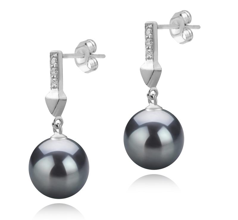 Paar Ohrringe mit schwarzen, 9-10mm großen Tihitianischen Perlen in AAA-Qualität , Erma