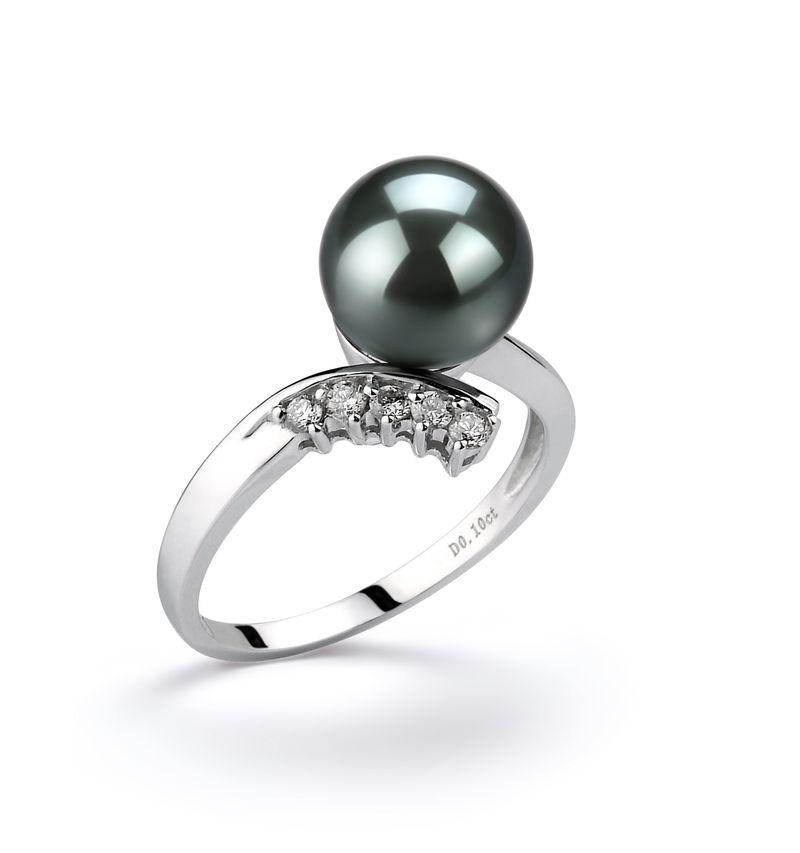 Ring mit schwarzen, 8-9mm großen Tihitianischen Perlen in AAA-Qualität , Esther