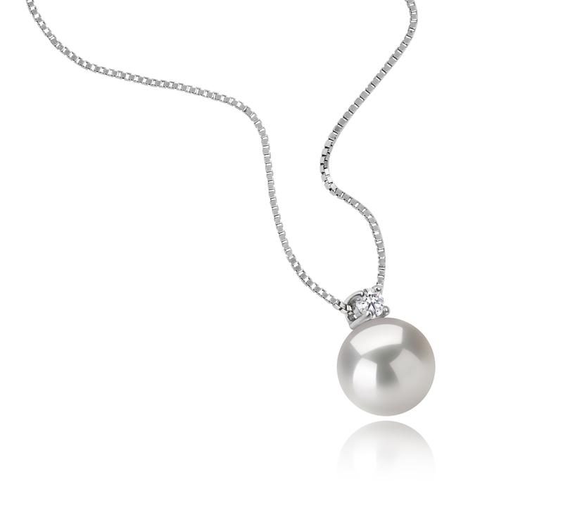 9-10mm AAAA-Qualität Süßwasser Perlenanhänger in Eternity Weiß
