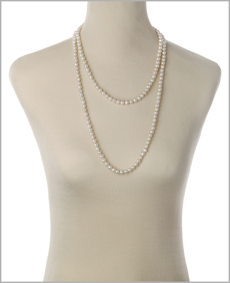 PearlsOnly - Halskette mit weißen, 6-7mm großen Süßwasserperlen in A-Qualität , Fiona