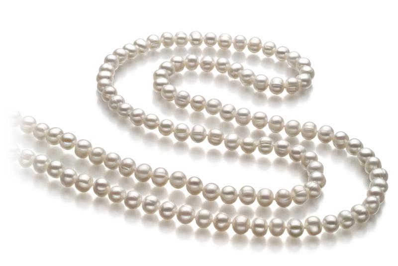 Halskette mit weißen, 6-7mm großen Süßwasserperlen in A-Qualität , Fiona