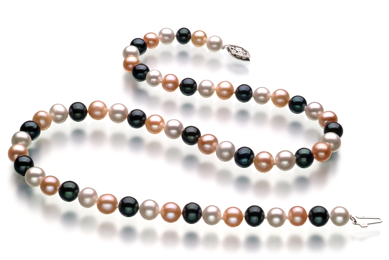 Halskette mit mehrfarbigen, 6-7mm großen Süßwasserperlen in AA-Qualität , Florentine