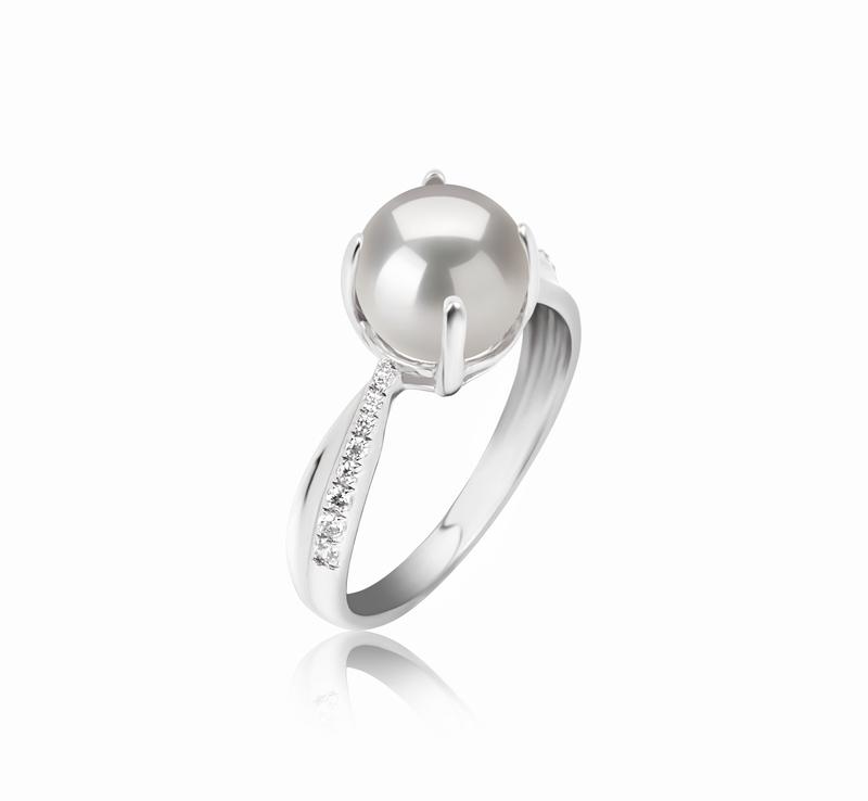 Ring mit weißen, 7.5-8mm großen Süßwasserperlen in AAAA-Qualität , Forever