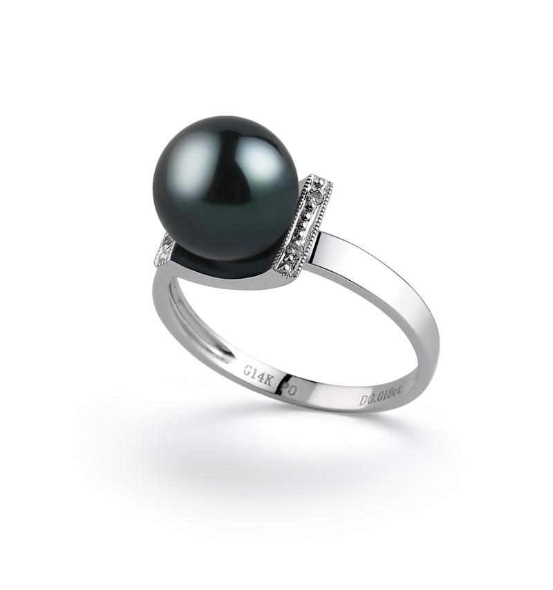 PearlsOnly - Ring mit schwarzen, 8-9mm großen Janischen Akoya Perlen in AA-Qualität , Francine