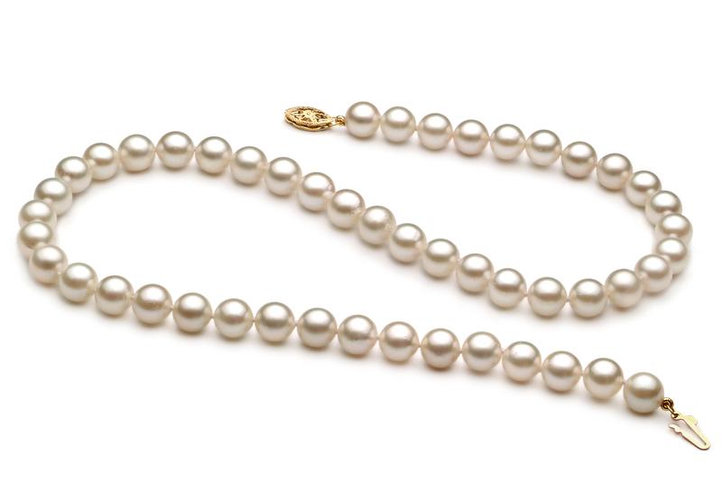Halskette mit weißen, 7-8mm großen Chinesischen Akoya Perlen in A+-Qualität , Frederike