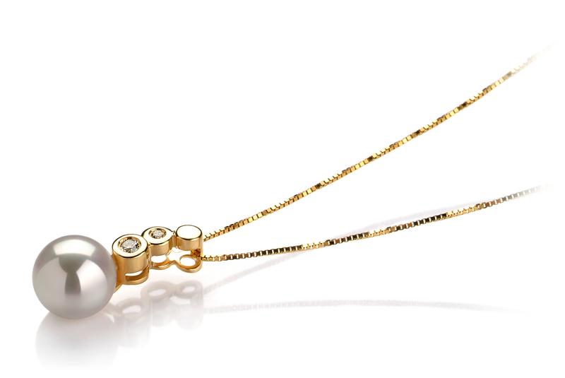 Anhänger mit weißen, 7-8mm großen Janischen Akoya Perlen in AAA-Qualität , Galina