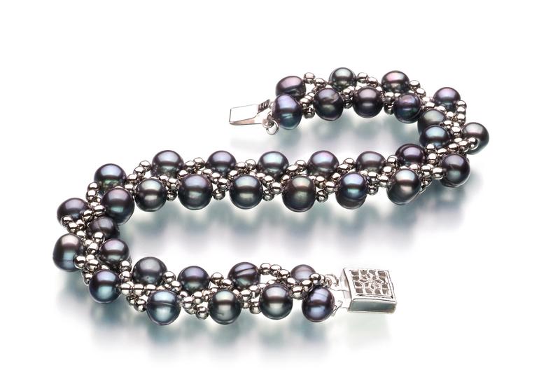 PearlsOnly - Set mit schwarzer, 6-7mm großer Süßwasserperle in A-Qualität , Geflecht