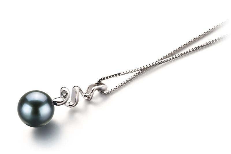 Anhänger mit schwarzen, 6-7mm großen Janischen Akoya Perlen in AA-Qualität , Gesa
