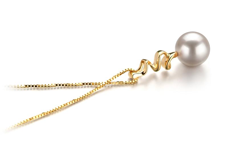 Anhänger mit weißen, 6-7mm großen Janischen Akoya Perlen in AA-Qualität , Gesa