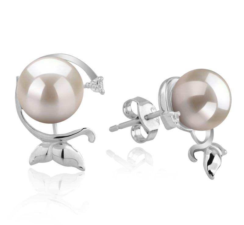Paar Ohrringe mit weißen, 7-8mm großen Janischen Akoya Perlen in AA-Qualität , Gilda