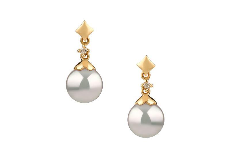 Paar Ohrringe mit weißen, 7-8mm großen Janischen Akoya Perlen in AA-Qualität , Gloria