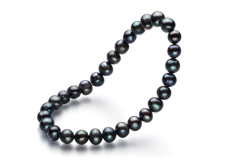 Armreifen mit schwarzen, 6-7mm großen Süßwasserperlen in A-Qualität , Glückseligkeit