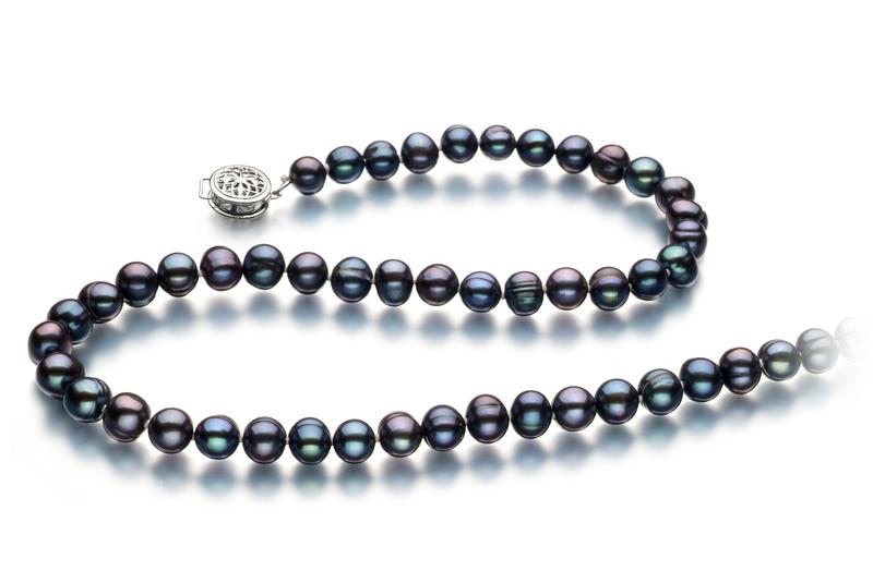 Halskette mit schwarzen, 6-7mm großen Süßwasserperlen in A-Qualität , Glückseligkeit