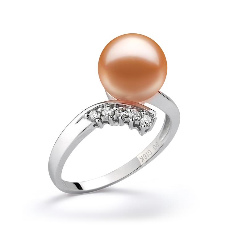 Ring mit rosafarbenen, 9-10mm großen Süßwasserperlen in AAAA-Qualität , Grace