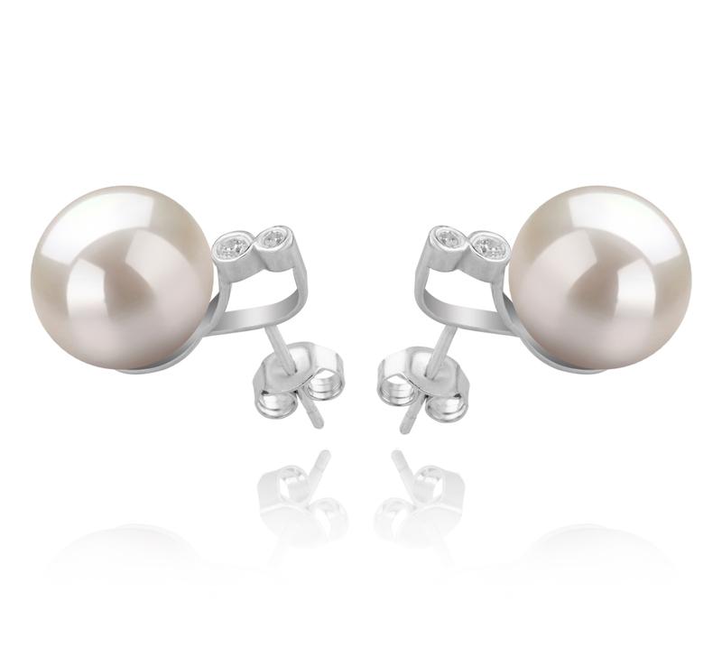 10-11mm AAAA-Qualität Süßwasser Paar Ohrringe in Hailey Weiß