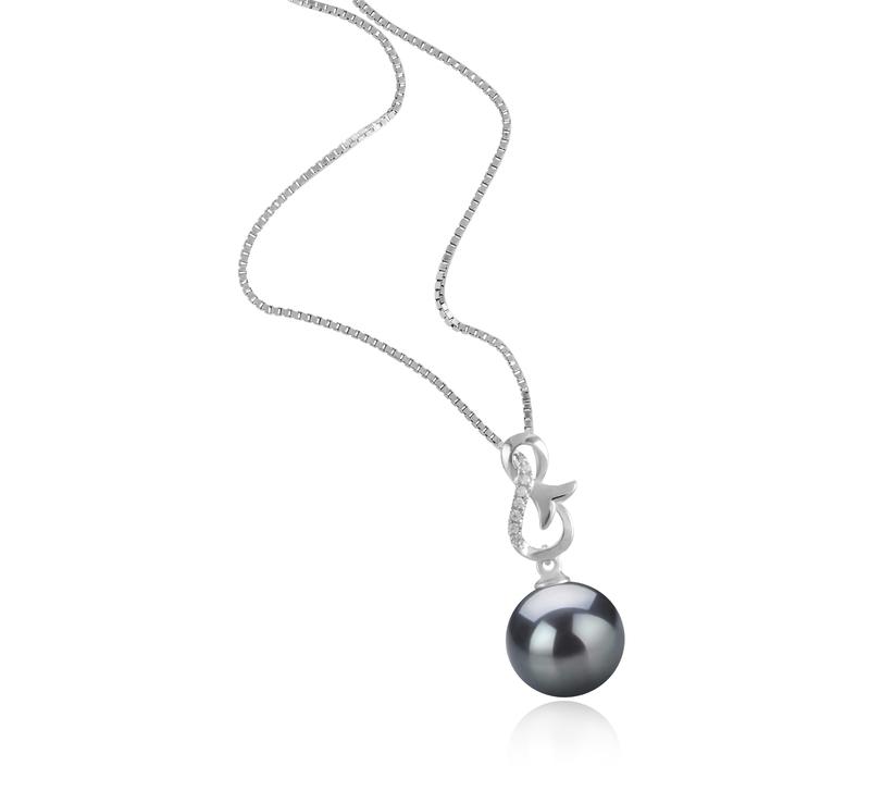 Anhänger mit schwarzen, 9-10mm großen Tihitianischen Perlen in AAA-Qualität , Hazel