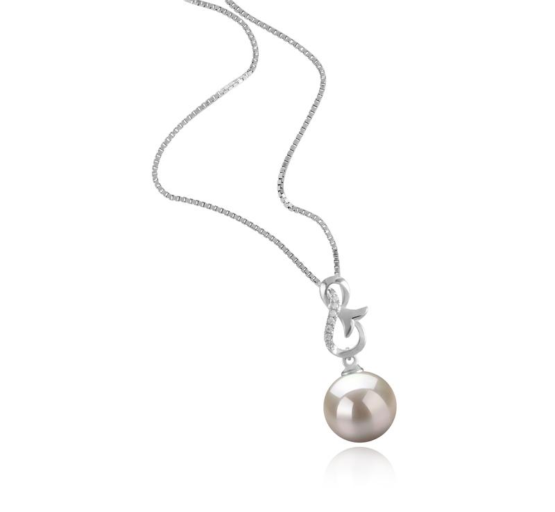 9-10mm AAAA-Qualität Süßwasser Perlenanhänger in Hazel Weiß