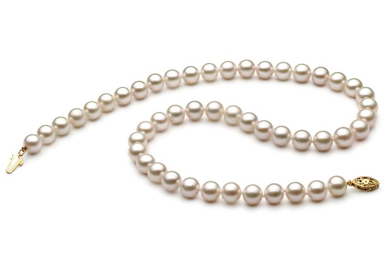 Halskette mit weißen, 7-8mm großen Chinesischen Akoya Perlen in AA+-Qualität , Heike