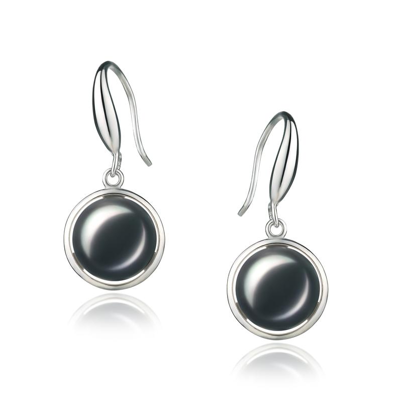 Paar Ohrringe mit schwarzen, 9-10mm großen Süßwasserperlen in AA-Qualität , Holly
