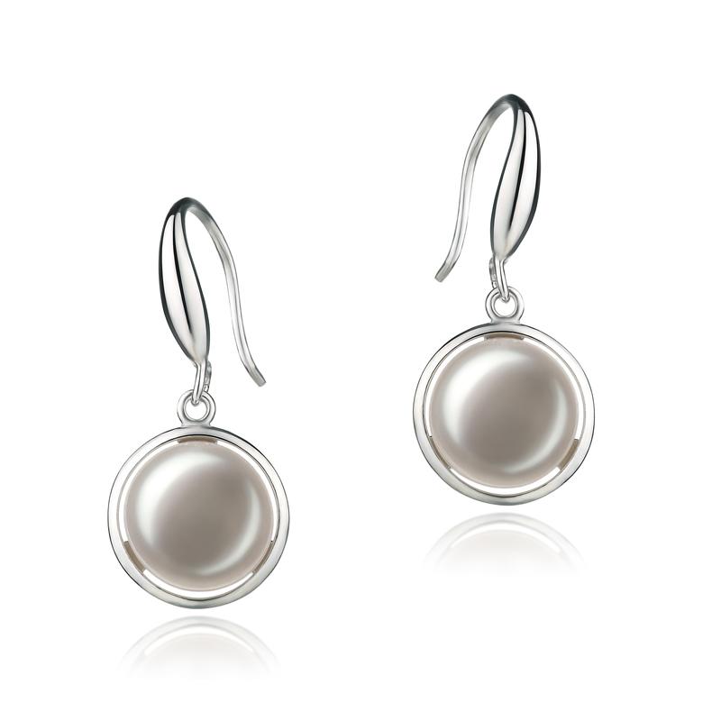 PearlsOnly - Paar Ohrringe mit weißen, 9-10mm großen Süßwasserperlen in AA-Qualität , Holly
